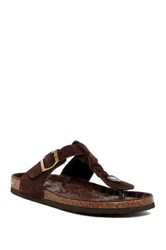 Muk Luks Suede Thong Sandal Brown