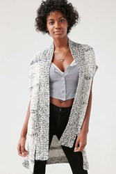 Ecote Drop Shoulder Vest Cardigan Black And White