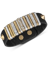 The Sak Gold Tone Black Leather Slider Accent And Stud Bracelet