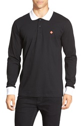 Obey 'Club' Long Sleeve Jersey Polo Black