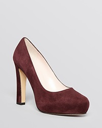 Kate Spade New York Almond Toe Platform Pumps Nessie High Heel Bordo