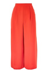 Topshop Crop Wide Leg Trousers Red