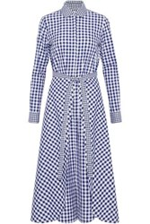 Rosetta Getty Belted Gingham Cotton Jacket Navy