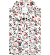 Paul Smith Floral Print Slim Fit Cotton Shirt White