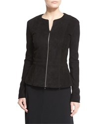 The Row Anastra Zip Front Suede Jacket Black
