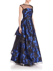 Pamella Roland Organza Illusion Yoke Gown Black Royal