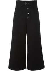 Red Valentino Cropped Wide Leg Trousers Black