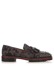 Christian Louboutin Rossini Camouflage Print Felt Loafers Grey