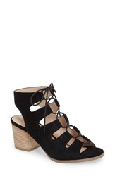 Sole Society Women's Rae Block Heel Sandal Black Suede