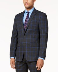 Sean John Men's Charcoal Windowpane Slim Fit Jacket