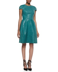 Monique Lhuillier Leather Cap Sleeve Dress 8