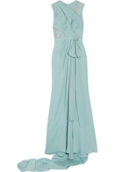 Elie Saab Lace Paneled Silk Blend Georgette Gown Light Blue