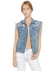Balmain Destroyed Cotton Denim Vest