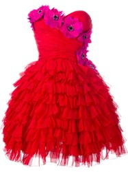 Dolce And Gabbana Bustier Ruffle Flower Dress Red