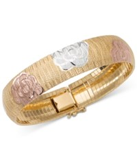 Giani Bernini Tri Tone Floral Bracelet In 18K Gold Rose Gold And Sterling Silver Only At Macy's
