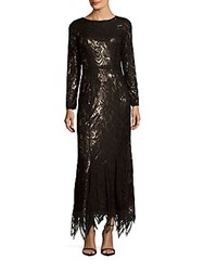 Js Collection Lace Long Sleeve Gown Black Gold