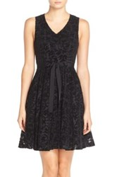 Tracy Reese 'Alaine' Flocked Netting Fit And Flare Dress Black