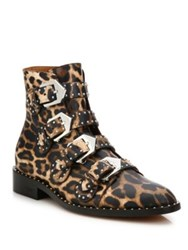 Givenchy Elegant Studded Leopard Print Leather Booties Multi