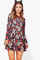 Boohoo Hannah Skull Rose Halloween Swing Dress Multi