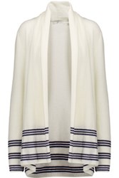 Joie Margaux Draped Stripe Trimmed Wool And Cashmere Blend Cardigan Cream