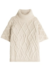 Woolrich Knit Cape With Wool And Alpaca Beige