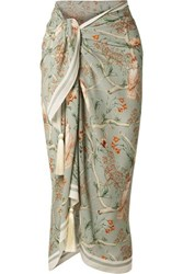 Johanna Ortiz Hitch Tassel Trimmed Printed Crepe De Chine Pareo Light Green