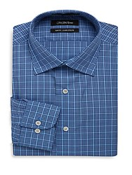 Saks Fifth Avenue Black Plaid Slim Fit Dress Shirt Blue