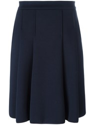 Max Mara 'S Wide Pleat Knee Length Skirt Blue