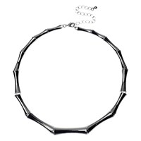 Adele Marie Bamboo Links Collar Necklace Silver