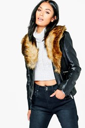 Boohoo Faux Leather Jacket With Fur Collar Black