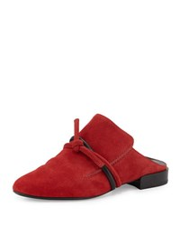 3.1 Phillip Lim Louie Top Knot Suede Mule Red