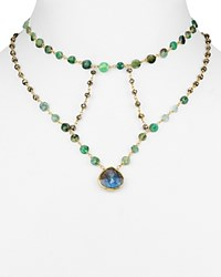Ela Rae Cleo Cage Necklace 12 Gold Green