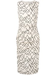 Eggs Geometric Print Fitted Dress Women Silk Polyester Acetate 44 Nude Neutrals