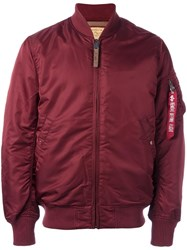 Alpha Industries Zipped Arm Bomber Jacket Red