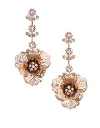 Badgley Mischka Crystal Flower Drop Earrings Rose Gold