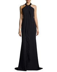 Carmen Marc Valvo Sleeveless Halter Beaded Toga Gown W Fringe