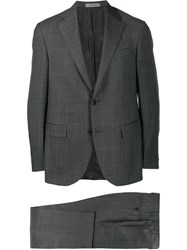 Corneliani Check Two Piece Formal Suit Grey