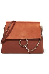Chloe Faye Medium Leather And Suede Shoulder Bag Brown
