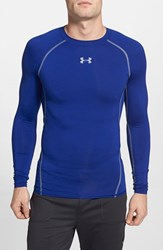 Men's Under Armour Compression Heatgear Long Sleeve T Shirt Royal Steel