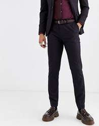 Topman Slim Suit Trousers In Burgundy Check Red