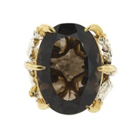 Tessa Metcalfe Smokey Quartz Deborah Ring Silver Gold Brown
