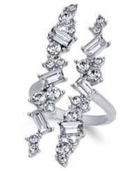Inc International Concepts Silver Tone Wide Crystal Cuff Statement Ring Created For Macy's