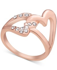 Guess Rose Gold Tone Crystal Double Heart Statement Ring