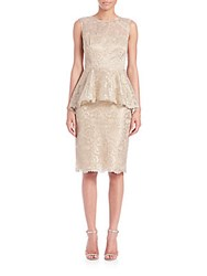 Teri Jon By Rickie Freeman Lace Peplum Sheath Gold