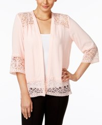 Ny Collection Lace Trim Cardigan Blossom