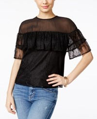Guess Rudy Flounced Lace Top Jet Black