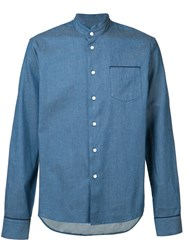 F.S.Z Mandarin Collar Shirt Men Silk Cotton S Blue