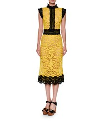 Dolce And Gabbana Two Tone Floral Lace Cocktail Dress Yellow Black Yellow Black