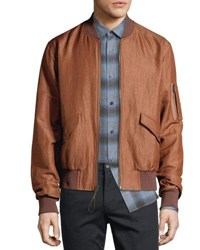Vince Classic Linen Blend Bomber Jacket Toffee