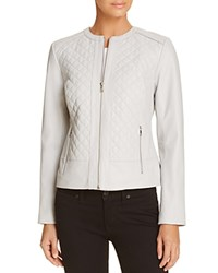 Cole Haan Quilted Leather Jacket Alabaster